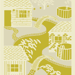 "Emma at Home - Japanese River Print, Apple, 11"" x 14"" - Don't you love art that transports you to another world? If so, this print certainly fits the bill. Each colorway would be great on its own, but placing all three in a row would be almost like capturing this little village in different seasons or stages of the day."