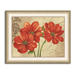 MonDeDe - Colors I - Freshen your space with these bright and beautiful blooms. Printed to perfection on archival quality paper, the artwork is set behind glass in a  hand-assembled wood frame to please the eye wherever you hang it.