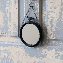 Hanging Round Bird Mirror - Beautifully ribbed frame with a sociable feathered friend hangs on a chain tilting the mirror just so where needed. Leverage the space on the back of a bathroom door or front of a closet door for guests to check their appearance.