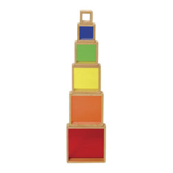 Guidecraft - Guidecraft Hardwood frames Stacking Rainbow Pyramid - Guidecraft - Wooden Play Sets - G5066 - Six hardwood stacking squares feature inset colored plexi for stacking sorting building sequencing and creating imaginative colorful construction!