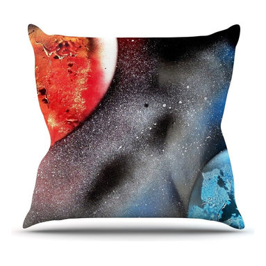 """KESS InHouse - Infinite Spray Art """"Sun VS. Moon"""" Planet  Throw Pillow, Outdoor, 16""""x16"""" - Decorate your backyard, patio or even take it on a picnic with the Kess Inhouse outdoor throw pillow! Complete your backyard by adding unique artwork, patterns, illustrations and colors! Be the envy of your neighbors and friends with this long lasting outdoor artistic and innovative pillow. These pillows are printed on both sides for added pizzazz!"""