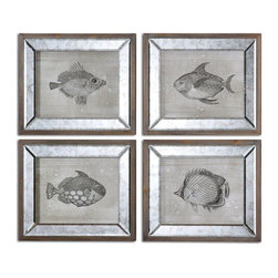 Mirrored Fish Framed Art S/4 Coastal D�cor - *Frames Are Dark Brown Finished Wood With Antique Mirrors Surrounding The Canvas Prints