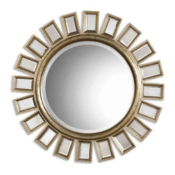 Uttermost - Uttermost Cyrus Round Silver Mirror 14076 B - This round, beveled mirror has a wood frame and is accented by several individual beveled mirrors. The frame finish is distressed silver leaf with light antiquing giving the appearance of aged champagne.