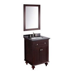 Bosconi - 25'' SB-259 Contemporary Single Vanity - Dark Espresso - The elegant Bosconi Contemporary Vanity adds flexibility to your needs. It is finished in rich Dark Espresso with complimenting Black Granite countertop and cabinet provides superb storage for perfect functionality. Coupled with a vertically placed mirror that compliments the vanity and blends into your bathroom design. The Bosconi Contemporary vanity is a welcome and lasting addition to your home.