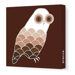 """Avalisa - Animal - Owl Stretched Wall Art, 18"""" x 18"""", Brown - Bird up! The ever-popular owl as you've never seen it before, with scallop-motif feathers and concentric circle eyes. Hang this sleek, stretched wall art in a child's bedroom or play area for a sense of wisdom with whimsy."""