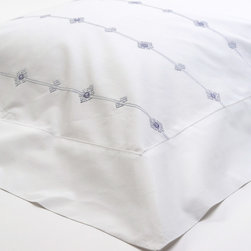 Sefte - Sefte Vinea Euro Pillow Sham - Inspired by the flowering vines of southern France, the Vinea euro sham by Sefte is a delightful way to add a touch of elegance to contemporary and minimalist design. Soft, organic cotton is hand-embroidered with a delicate medallion pattern for the ultimate in comfortable bedding. 100% organic cotton, 400 thread count; Lined with organic poplin; White with charcoal, cream or plum embroidery; Embroidered by artisans in Vietnam; Insert not included; Sefte follows Fairtrade practices; Environmentally-friendly, oeko-tex standard dyes; Shown with Sefte Paya crocheted pillows and throw blanket, Vinea pillowcases and duvet cover, and Maya boucle blanket, each sold separately; Dry clean only