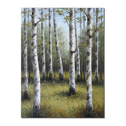 Uttermost - Uttermost Birches In Spring 48x36 Rectangular Hand Painted Art - Frameless, Hand Painted Artwork on Canvas. Canvas is Stretched and Mounted to Wooden Stretching Bars. Due to the Handcrafted Nature of this Artwork, Each Piece May Have Subtle Differences.