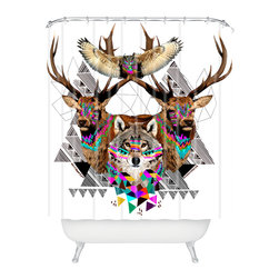 DENY Designs - Kris Tate Forest Friends Shower Curtain - Who says bathrooms can't be fun? To get the most bang for your buck, start with an artistic, inventive shower curtain. We've got endless options that will really make your bathroom pop. Heck, your guests may start spending a little extra time in there because of it!