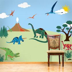 My Wonderful Walls - Dinosaur Days Wall Mural Stencil Kit for Painting - - 26 individual dinosaur wall mural stencils