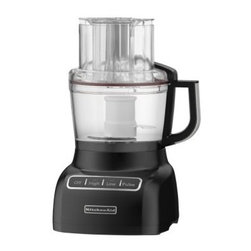 KitchenAid KFP0922 9 Cup Food Processor - Onyx Black - You'll wonder what you ever did without the ultra-convenient KitchenAid KFP0922 9 Cup Food Processor - Onyx Black in your kitchen. The Exact-Slice System easily slices soft or hard foods with the optimized speeds, from thick to thin. The 3-in-1 ultra wide mouth feed tube means you can put in items big or small.