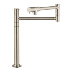 Hansgrohe - Hansgrohe 04058 Talis Deck Mounted Pot Filler - 415329 - Shop for Kitchen from Hayneedle.com! The Hansgrohe 04058 Talis Deck Mounted Pot Filler rises 14 inches high to give you plenty of space to fit even the biggest pot. Sometimes it can feel like you're feeding an army and as if that wasn't stressful enough the cookware you need to use to prepare such a feast often won't fit inside your sink. How are you supposed to clean these things? Well a pot filler that's no problem at all. This incredibly useful faucet features an extendable swing-arm spout that reaches up to 23.5-inches to make your time in the kitchen that much easier. This stunning pot filler is crafted entirely from durable metal with 2 ceramic shut-off valves for convenient usage and a .5-inch connection for hassle-free placement. The deck mounted unit was designed with a single-hole installation in mind and measures 23.5L x 2.75W x 14H inches. Both chrome and steel optik finish options are available. Product Specifications: Number of Holes: 1 hole installation Number of Handles: 2 faucet handles Mount Type: Deck mount Faucet Height: 14 inches Extended Length: 26.94 inches Overall Dimensions: 23.5L x 2.75W x 14H in. Material: Brass ADA Compliant: Yes About the Hansgrohe GroupIn 1901 the Hansgrohe Group was founded in Schiltach in the Black Forest in Germany by Hans Grohe. Headquarters for Hansgrohe are still located there today. With a firm establishment in the sanitation industry Hansgrohe offers progressive design-oriented bathroom solutions and cutting-edge bathroom products. Successful world-wide Hansgrohe has 10 production facilities on three continents and sales companies and consulting support locations in 36 countries. Hansgrohe's five-star recipe for success includes innovative products a sustainable business concept and the passion for the element of water.About the Hansgrohe GroupIn 1901 the Hansgrohe Group was founded in Schiltach in the Black Forest in Germany by Hans Grohe. Headquarters for Hansgrohe are still located there today. With a firm establishment in the sanitation industry Hansgrohe offers progressive design-oriented bathroom solutions and cutting-edge bathroom products. Successful world-wide Hansgrohe has 10 production facilities on three continents and sales companies and consulting support locations in 36 countries. Hansgrohe's five-star recipe for success includes innovative products a sustainable business concept and the passion for the element of water.