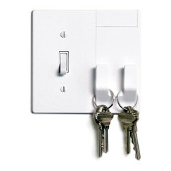 Walhub - 1Hang // Toggle - The underutilized switch plate cover finally has another purpose. Now it has two hooks incorporated into its design. Hang your keys, umbrella or purse — all at your fingertips as you turn off the lights and walk out the door.