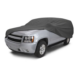 None - Indoor/Outdoor Standard SUV/Van Cover 3 Layers - Protect your vehicle from the elements with one of these thick SUV covers. The covers are waterproof and made with many layers of polypropylene fabric to give ultimate protection during any season and prevent mold growth from occurring.