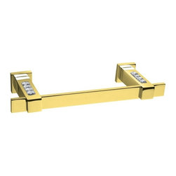 Windisch - Gold Brass Wall-Mounted 15 Inch Towel Bar With White Crystals - Modern & contemporary style wall mounted bathroom towel holder.