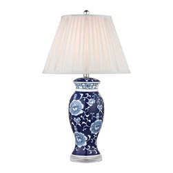 Joshua Marshal - One Light White Faux Silk Shade Blue And White Hand Paint Table Lamp - One Light White Faux Silk Shade Blue And White Hand Paint Table Lamp