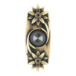 Waterwood - Solid Brass Double Daisy Doorbell in Antique Brass - The Waterwood Solid Brass Double Daisy Doorbelll has a uniquely playful design symbolizing summer days. Displayed from the front door of your home, your guests will be greeted with a timeless reminder of pleasant times. This solid brass doorbell is crafted using the sand casting technique. It is then hand finished and coated with a protective lacquer to withstand the elements. Waterwood doorbells are easy to install and will add personality to your home. It comes with a lighted push button and mouting screws.