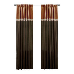 Lush Decor - Terra Brown/Rust Window Curtain - Set of 2 - Includes: 2 Window Panels. Fabric Content:100% Polyester. Color: Brown/Rust. Care Instruction: Dry clean. 54 in. x 84 in. Fun colors and classy designs makes this drapery set perfect for any room. Top loop slides easily onto your curtain rod for quick installation. Full lining provides extra insulation and privacy. Durable fabric promises lasting quality.