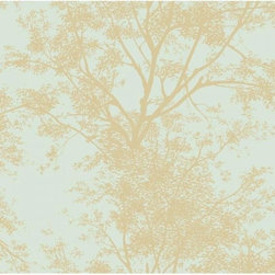 Brewster - Blue Book Tree Silhouette Wallpaper - Double Roll - Wallpaper is priced and packaged in double rolls. Items come in quantities of 2.