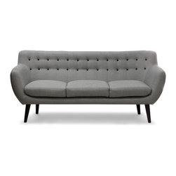 NYFU - Chelseat 3-Seater Sofa - We love Chelsea, so as our ChelSeat 3-Seater! It is super comfy with its generously foam cushioning and it is smart about your space with its compact structure. The abundant foaming of the seat cushion allows relaxed seating on a medium-firm surface. The curved back and armrests hug you when you sit, giving a more inviting feel. The black buttoning and legs give this contemporary design a more sophisticated look.