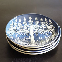 Tree of Life Menorah Salad Plate, Set of 4 - These plates are perfect for latkes!