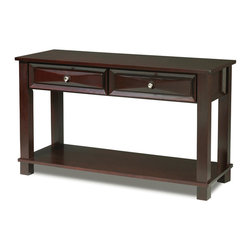 Steve Silver - Mason Sofa Table - The Mason Sofa Table has a dark cherry finish and classic design that merges seamlessly into any living room. The cocktail, sofa, and end table collection give you a complete living room solution.