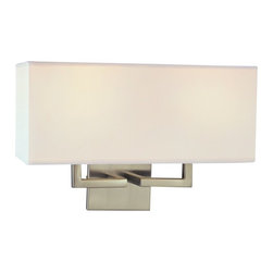 George Kovacs - George Kovacs 2-Light Wall Sconce - This light sconce attaches to the wall without stealing thunder from your fabulous decor. Use it in a room where you have a bold theme going to draw the eye toward signature pieces, or in bathroom where its fabric shade will soften harsh light first thing in the morning.