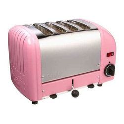 Dualit - Dualit 40420 Vario 4 Slice Classic Toaster-Pink - 40420 - Shop for Toasters from Hayneedle.com! The Dualit 40420 Vario Classic 4 Slice Toaster in a petal pink finish is specially designed for the demands of commercial use. It is hand-assembled in England and built to last with an insulated stainless steel body variable controls and automatic turnoff. Complete with extra-wide 28mm (1.1-inch) slots to accommodate a Sandwich Cage award-winning ProHeat elements and a patented design that increases toasting efficiency and element longevity. This Dualit toaster features switches to control the degree of browning and an ejector system which means that the toast does not pop up but stays warm until the ejector lever is pushed up. The Sandwich Cage which has a built-in drip tray can be purchased as an optional accessory. Additional Information:Measures 14W x 8D x 9H inchesMade in England About DualitFrom the first flip-sided toaster in 1946 through the steady growth of a commercial product range in the 1950s and 60s to its explosion onto the consumer market in the late 70s Dualit has remained true to its founder Max Gort-Barten s original vision.A company with a clear set of values Dualit remains focused on high quality well-engineered products a hard-won reputation amongst professional chefs and a loyal and family-orientated workforce. Dualit continues to grow by remaining true to the same spirit of invention entrepreneurship and gut instinct and by identifying what its customers need by fulfilling that need and by exceeding their expectations.