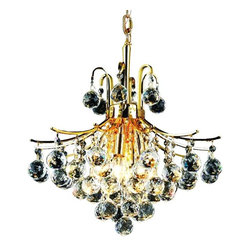 Elegant - Toureg Gold Elegant Cut Dining Room Chandelier - The Toureg Collection sparkles with an extraordinary display of octagons and faceted crystal balls offering an uninterrupted cascade of crystal.