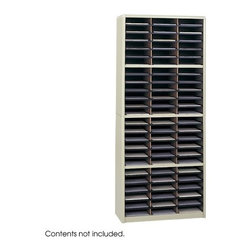 """Safco Products - Value Sorter Organizer (72 Compartments) - This Value Sorter Organizer provides an economical and efficient storage solution for forms, literature, catalogs and other paper goods. Support shelves ensure stability and durability while the wide shelf fronts have label holders (labels included) for easy organization. Features: -72 compartments -Constructed from heavy-duty corrugated fiberboard. -Each compartment holds up to 550 sheets -Compartments are wide enough to easily accommodate letter-size file folders. -Quick-lock assembly makes set up fast and easy -Available in black, gray, and sand finish (baked enamel) and medium oak woodgrain finish. -Compartment Dimensions: 9 3/4"""" W x 12 1/2"""" D x 2 1/2"""" H -Overall Dimensions: 32 1/4"""" W x 13 1/2"""" D x 75"""" H Click Here to View Safco's Limited Lifetime Warranty"""