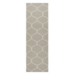Jaipur Rugs - Jaipur Rugs Flat-Weave Moroccan Pattern Wool Gray/Ivory Runner // 2.6x8 - An array of simple flat weave designs in 100% wool - from simple modern geometrics to stripes and Ikats. Colors look modern and fresh and very contemporary.