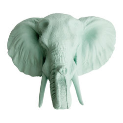 White Faux Taxidermy - The Sydney - Seafoam Green Faux Resin Elephant Head - Measurements: