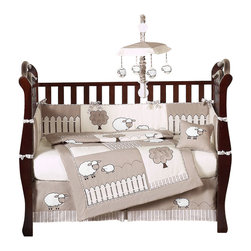 Sweet Jojo Designs - Little Lamb 9-Piece Baby Crib Bedding Set by Sweet Jojo Designs - The  baby bedding by Sweet Jojo Designs includes: comforter, bumper, dust ruffle, fitted sheet, toy bag, pillow, diaper stacker and 2 window valances.