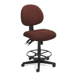 OFM - OFM 24 Hour Computer Task Stool with Drafting Kit, Burgundy - This multi-shift chair can handle continuous sitting, 24 hours a day, 7 days a week. Great for government offices that require around-the-clock staffing, like hospitals and police stations. The adjustable back can fit anyone who uses it. ANSI/BIFMA approved.