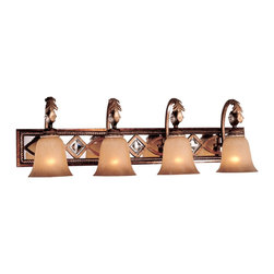 """Minka Lavery - Traditional Minka Aston Court 34 1/4"""" Wide Bathroom Light Fixture - A neo-classical influence is merged with the glamour of high fashion in this bath sconce style light from Minka. The traditional look features unique Avorino Mezzo glass and exquisite beaded details. In a bronze finish. From Minka Lighting. Takes four 100 watt bulbs (not included). 34 1/4"""" wide. 10 3/4"""" high. Extends 8 1/2"""" from the wall.  Bronze finish.  Takes four 100 watt bulbs (not included).   34 1/4"""" wide.   10 3/4"""" high.   Extends 8 1/2"""" from the wall."""