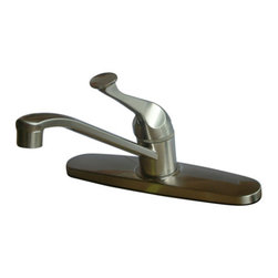 "Kingston Brass - Single Handle Kitchen Faucet - This single handle kitchen faucet includes a 6"" or 8"" setup with a slanted spout that rotates 360 degrees for convenience in washing. The handle acts as a joystick-type control mechanism for easy management of water volume and temperature; also includes a 2.2 GPM (8.3 LPM) 60 PSI max rate. Fabricated in solid brass for durability and reliance, we also a choice of finishes for stain, scratch and chipping resistance. A 10-year limited warranty is provided to the original customer.; Single Handle Operation; 3 Hole Installation; Stainless Steel Ball Cartridge; Retro Style Lever Handle; 7 5/8"" Spout Reach with 5"" spout clearance; Material: Brass; Finish: Satin Nickel Finish; Collection: Chatham"