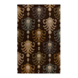 """Surya - Surya Matmi MAT-5452 (Dark Chocolate, Turtle Green) 3'3"""" x 5'3"""" Rug - Unique is the only word to describe the Surya Matmi collection. Covered in individualistic patterns and bright, vivid colors, these rugs are unlike any other you have ever seen. Hand tufted from 100% wool, the softness and durability is just a bonus to these amazing rugs."""