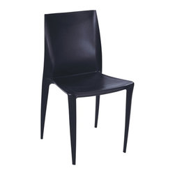 Fine Mod Imports - Angles Plastic Dining Chair Black - Comfortable dining chair. Molded ABS frame.