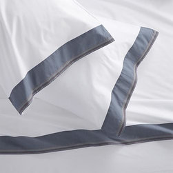 """Miri Blue Queen Sheet Set - Pigment-dyed blue trim bands crisp, white bedding in rich color, playfully accented with five rows of contrast stitching. Versatile look in soft, cotton percale mixes and matches for a varied, layered bed. Generous 16 """" pockets (14"""" for twin) accommodate most mattresses. Bed pillows also available."""