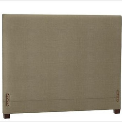 """Raleigh Square Headboard, Full, Washed Linen/Cotton Seagrass - Simple lines and softly rounded corners distinguish the profile of our Raleigh Square Bed & Headboard, crafted by our own master upholsterers in the heart of North Carolina. Crafted with a kiln-dried hardwood frame. Headboard, foot rail and side rails are thickly padded and tightly upholstered with your choice of fabric. Exposed block feet have a hand-applied espresso finish Headboard also available separately. The headboard-only option is guaranteed to fit with our PB metal bedframe using the headboard hardware. This item can also be customized with your choice of over {{link path='pages/popups/fab_leather_popup.html' class='popup' width='720' height='800'}}80 custom fabrics and colors{{/link}}. For details and pricing on custom fabrics, please call us at 1.800.840.3658 or click Live Help. Crafted in the USA. Full: 57.5"""" wide x 83.5"""" long x 53.5"""" high Queen: 64.5"""" wide x 88.5"""" long x 53.5"""" high King: 80.5"""" wide x 88.5"""" long x 53.5"""" high Cal. King: 74.5"""" wide x 92.5"""" long x 53.5"""" high Full: 57.5"""" wide x 53.5"""" high x 4.5"""" deep Queen: 64.5"""" wide x 53.5"""" high x 4.5"""" deep King: 80.5"""" wide x 53.5"""" high x 4.5"""" deep Cal. King: 74.5"""" wide x 53.5"""" high x 4.5"""" deep"""