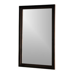 """Holly & Martin - Holly & Martin Roxburgh Wall Mirror - This rectangular mirror from the Vogue Collection features a double-edged frame. Finish is a rub-through of black and copper hues that brings out a gleam and adds depth. It can be paired with formal furnishings in an entry or living area. * The Vogue collection will bring a pleasantly distinct style to your home. The metal frame is finished in black with the edges rubbed away to show the copper finish below. The base of each sturdy table consists of a curved """"X"""" which holds the tempered glass top. The cocktail, end table, console table and mirror are all sold separately. Assembly: Some assembly is required. Material of construction: Metal / 5 mm Mirror. 22 in. W x 36 in. H x 1.25 in. D"""