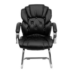 Flash Furniture - Black Leather Transitional Side Chair with Padded Arms and Sled Base - This is the perfect transitional chair for the reception area or office side chair for guests. The tufted back and chrome sled base frame provides a sleek appearance.
