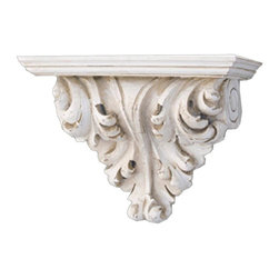 Hickory Manor House - Leaf Scroll Bracket in Old World White Finish - Vintage original. Custom made by artisans unfortunately no returns allowed. Enhance your decor with this graceful bracket. Made in the USA. Made of pecan shell resin. 9 in. W x 5.5 in. D x 11.5 in. H (5 lbs.)