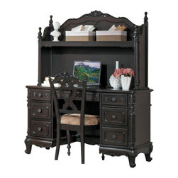 Homelegance - Homelegance Cinderella Writing Desk with Hutch and Chair in Cherry - The Cinderella collection is your little girl s dream. The Victorian styling incorporates floral motif hardware, Dark cherry finish and traditional carving details that will create the feeling of a room worth of a fairy tale princess.