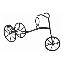 Antique Metal Tricycle Tabletop Single Wine Bottle Holder - This antique tricycle wine bottle display complements most any decor, and is sure to start a conversation. Made of metal, it measures 8 1/2 inches tall, 15 1/4 inches long, and 4 1/2 inches wide. Paired with a nice bottle of wine, it makes a lovely housewarming gift.