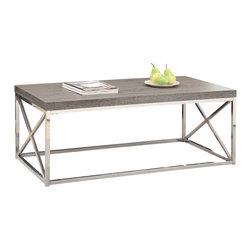 Monarch Specialties - Monarch Specialties 3258 Cocktail Table in Dark Taupe with Chrome Metal - With its dark taupe reclaimed wood-look top, this cocktail table gives an exceptional look to any room. Its original rectangular shape and chromed metal base provides sturdy support as well as a contemporary look. Use this multi- functional table to compliment your living room.