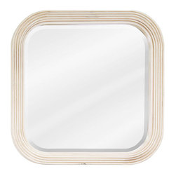 Hardware Resources - Hardware Resources MIR014 Wood Mirror - 26 in  x 26 in  Buttercream reed-frame mirror with beveled glass
