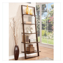 Riverside Furniture - Riverside Furniture Lean Living Leaning Bookcase in Burnished Brownstone - Riverside Furniture - Bookcases - 27837 - Riverside's products are designed and constructed for use in the home and are generally not intended for rental commercial institutional or other applications not considered to be household usage. Riverside uses furniture construction techniques and select materials to provide quality durability and value in their products. The construction of Riversides core product line consists of a combination of cabinetmaker hardwood solids and hand-selected veneers applied over medium density fiberboard (MDF) and particle board. MDF and particle board are used in quality furniture for surfaces that require stability against the varying environmental conditions in modern homes.