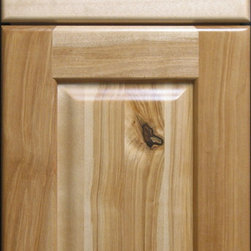 "Heart Birch Raised Panel Cabinet Door - Heart Birch custom hardwood cabinet door and drawer front combination. ""Heart Birch"" refers to the fact that this type of wood comes from the center, or heart of the tree. The wood found in the heart of the tree is typically darker and has a lot more character, knots, and a variety of color tones to it."