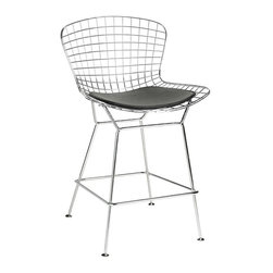Home Decorators Collection - James Counter Stool - With its modern appeal, this chrome-laced stool will make any minimalist a happy camper. And its supple leather seat will make everyone else a believer too.