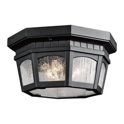 Kichler Lighting - Kichler Lighting 9538BKT Courtyard Traditional Outdoor Flush Mount Ceiling Light - Uncluttered and traditional, this 3 light flush mounted ceiling fixture from the Courtyard™ collection adds the warmth of a secluded terrace to any patio or porch. Featuring a Textured Black finish and Clear Seedy Glass, this design will elevate and enhance any space.